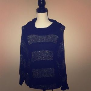 I-N-C cowlneck gold and black sweater